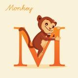 Animal alphabet with monkey. Illustration Royalty Free Stock Photography