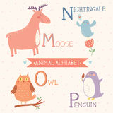 Animal Alphabet. Moose, Nightingale, Owl, Penguin. Part 4 Royalty Free Stock Images
