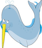 Animal Alphabet N. A narwhal whale in the shape of a the letter N Stock Photos