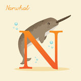 Animal alphabet with narwhal. Illustration Stock Photo