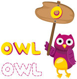 Animal alphabet o with owl Royalty Free Stock Image