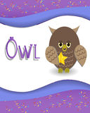 Animal alphabet owl Stock Image