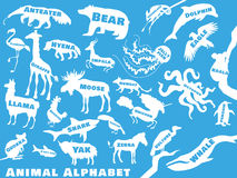Animal alphabet poster for children. Animals. Animal alphabet poster for children. Animal silhouettes with names and letters inside. Poster concept. From a to z Stock Images
