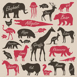 Animal alphabet poster for children. Animal silhouettes with names and letters inside Royalty Free Stock Image