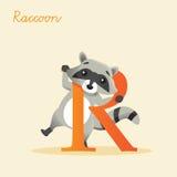 Animal alphabet with raccoon. Vector illustration stock illustration