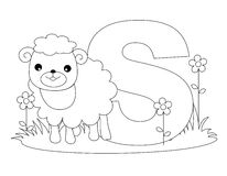 Animal Alphabet S Coloring page. Illustration of alphabet letter S with a cute little sheep on grass isolated on white background. Coloring book page graphic S stock illustration