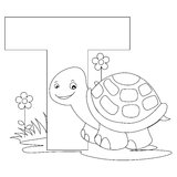 Animal Alphabet T Coloring page. Illustration of alphabet letter T with a cute little turtle isolated on white background. Coloring book page graphic T is for stock illustration