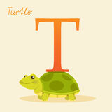 Animal alphabet with turtle. Vector illustration Royalty Free Stock Photo