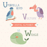 Animal Alphabet. Umbrella bird, Vulture, Whale. Part 6 Stock Photography