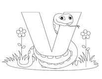 Animal Alphabet V Coloring page. Illustration of alphabet letter V with a cute little viper isolated on white background.Coloring book page graphic V is for vector illustration
