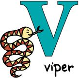 Animal alphabet V (viper) Royalty Free Stock Images