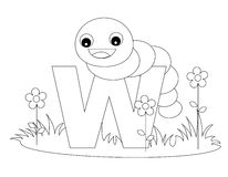 Animal Alphabet W Coloring page. Illustration of alphabet letter W with a cute little Worm isolated on white background. Coloring book page graphic W is for Worm royalty free illustration