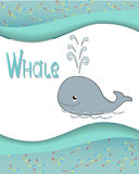 Animal alphabet whale. With a colored background Stock Photos
