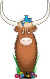 Animal Alphabet Y. A yak with a few bluebirds on his head - he is shaped like the letter Y Stock Image