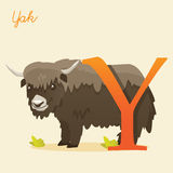 Animal alphabet with yak. Vector illustration Stock Image