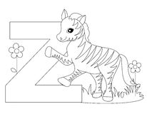 Animal Alphabet Z Coloring page vector illustration