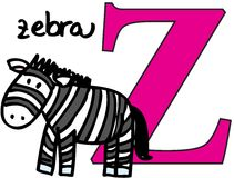 Animal alphabet Z (zebra) Royalty Free Stock Photography