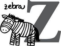 Animal alphabet Z (zebra) Royalty Free Stock Photos