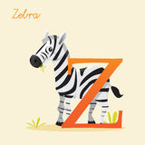 Animal alphabet with zebra. Vector illustration Stock Photos