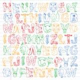 Animal alphabet. Zoo alphabet. Letters from A to Z. Cartoon cute animals. Elephant, dog, flamingo, giraffe, horse. Animal alphabet. Zoo alphabet. Letters from A vector illustration