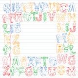 Animal alphabet. Zoo alphabet. Letters from A to Z. Cartoon cute animals. Elephant, dog, flamingo, giraffe, horse. Animal alphabet. Zoo alphabet. Letters from A stock illustration
