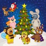 Animal around  christmas tree Royalty Free Stock Photos