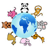 Animal around the globe Royalty Free Stock Photos