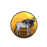 Animal art, cute cartoon style. Hand drawn  illustration. Wildebeest or gnu antelope, lives in African savannah. Cartoon style Stock Photo