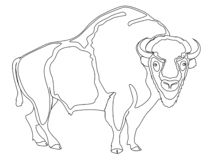 Animal artiodactyl, bison, cow. Comic book style imitation. Object on white background. Book coloring for children. Animal artiodactyl, bison, cow raster. Comic vector illustration