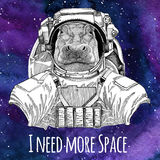 Animal astronaut Hippo, Hippopotamus, behemoth, river-horse wearing space suit Galaxy space background with stars and Royalty Free Stock Photos
