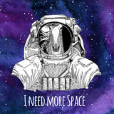 Animal astronaut Horse, hoss, knight, steed, courser wearing space suit Galaxy space background with stars and nebula Royalty Free Stock Photography