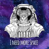 Animal astronaut Oriental cat with big ears wearing space suit Galaxy space background with stars and nebula Watercolor Stock Photo