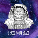 Animal astronaut Portrait of fluffy persian cat wearing space suit Galaxy space background with stars and nebula. Animal astronaut wearing space suit Galaxy royalty free illustration