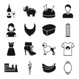 Animal, atelier, skyscraper and other web icon in black style.   Royalty Free Stock Image