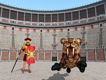 Animal attack in the Colosseum in ancient Rome Royalty Free Stock Photo