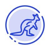 Animal, Australia, Australian, Indigenous, Kangaroo, Travel Blue Dotted Line Line Icon royalty free illustration
