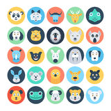 Animal Avatars Flat Vector Icons 4 Stock Images