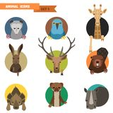 Animal avatars. Vector Illustration. Animal avatars set with flat design. Vector Illustration Stock Photography