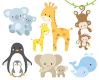 Animal and Baby. Illustration of animal and baby including koalas, penguins, giraffes, monkeys, elephants, whales Royalty Free Stock Photo