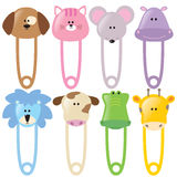 Animal Baby Safety Pins Set 2 Isolated Royalty Free Stock Photography