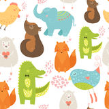 Animal background. With cute bird, alligator, dog, hen, fox, elephant and sheep. Zoo love seamless pattern isolated on white background Stock Image