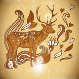 Animal Background pattern with swirls and deer Stock Photos
