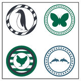 Animal badges. On white background Royalty Free Stock Photography