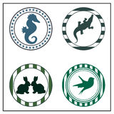 Animal badges. On white background Royalty Free Stock Images