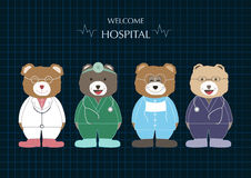 Animal bear doctor cartoon ,Health care,Vector illustrations Royalty Free Stock Photography