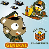 Animal bears the air force troops. Vector cartoon of bears on air force squadron,. EPS 10 Stock Photo