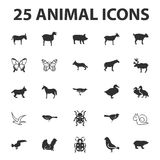 Animal and beast 25 black simple icons set for web Royalty Free Stock Image