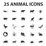 Animal and beast 25 black simple icons set for web Royalty Free Stock Photo