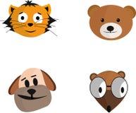 Animal set. Beautiful head of a dog, cat, bear, ferret Stock Photos