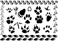 Animal and bird footsteps. Set of different animal and bird footsteps illustration Stock Photos